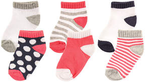 Luvable Friends Red & White Stripe No-Show Six-Pair Sock Set - Infant