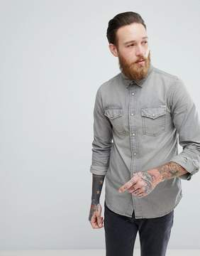 Jack and Jones Vintage Western Denim Shirt in Gray Wash