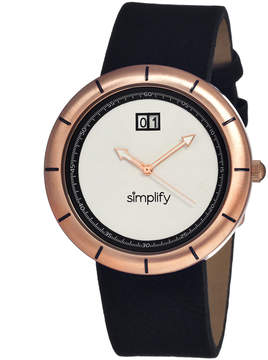 Simplify Rose Gold & Silver The 1300 Leather-Strap Watch - Men