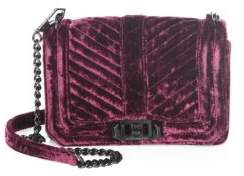 Rebecca Minkoff Love Small Chevron Quilted Velvet Crossbody Bag - DARK CHERRY - STYLE
