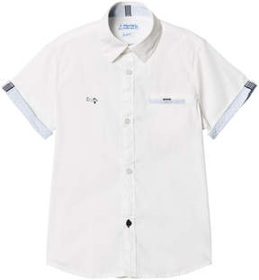Mayoral White Short Sleeve Shirt with Stitched Plane Emblem