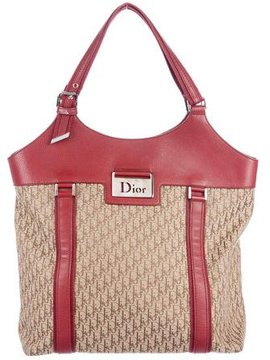 Christian Dior Leather-Trimmed Woven Tote