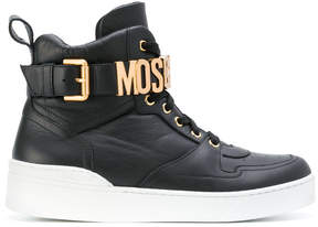 Moschino logo buckle hi-top sneakers