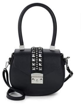 Mario Valentino Leather Rockstud Saddle Bag