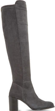 Dune Ladies Grey Tommy Over-The-Knee Suede Boots