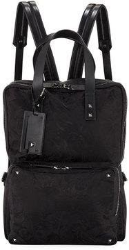 Valentino Jacquard Backpack w/ Rockstud Trim