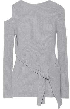 3.1 Phillip Lim Draped Cutout Ribbed Wool And Yak-blend Sweater - Gray