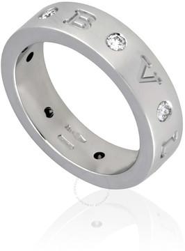 Bvlgari 18K White Gold Diamond-Set Ring- Size 50