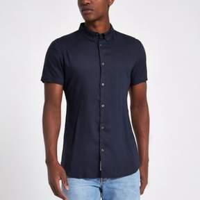 River Island Mens Navy short sleeve slim fit shirt