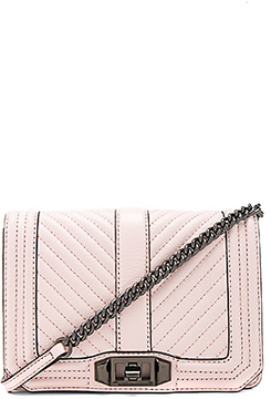 Rebecca Minkoff Chevron Quilted Small Love Crossbody Bag in Blush.