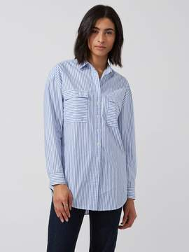Frank and Oak Oversized Striped Cotton-Poplin Shirt in Blue