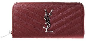 Saint Laurent Monogramme Quilted Leather Zip Around Wallet - BLOOD - STYLE
