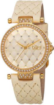 Burgi Beige Dial Ladies Crystals Set Watch