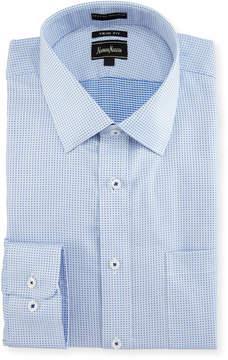Neiman Marcus Trim-Fit Regular-Finish Dobby Dress Shirt, Blue/White