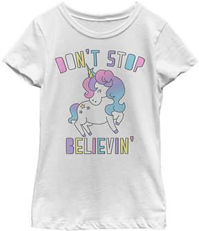 Fifth Sun White 'Don't Stop Believin''Unicorn Tee - Girls
