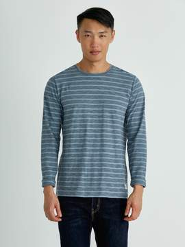 Frank and Oak Striped Long-Sleeved Cotton T-Shirt in Light blue/Grey