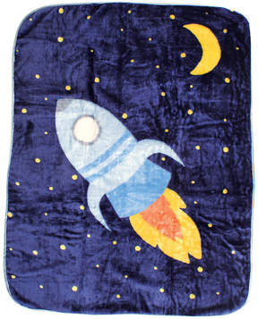 Luvable Friends 14'' x 14'' Blue Spaceship Lovey Blanket