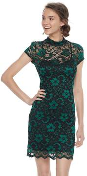 Almost Famous Juniors' Lace Overlay Sheath Dress