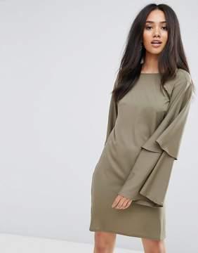 AX Paris Khaki Wide Bell Sleeve Tunic Dress
