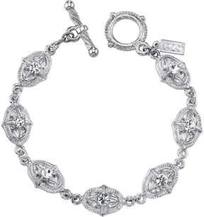 1928 Crystal Textured Oval Link Toggle Bracelet