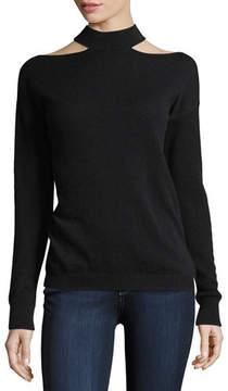 Autumn Cashmere Slash Mock-Neck Long-Sleeve Cashmere Sweater
