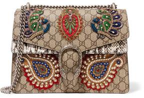 Gucci - Dionysus Medium Appliquéd Embellished Coated-canvas And Snake Shoulder Bag - Beige