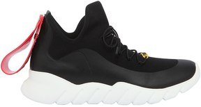 Fendi Rubber Tag Tech Knit Running Sneakers