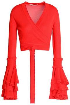 Antonio Berardi Cropped Ruffled Stretch-Knit Wrap Top