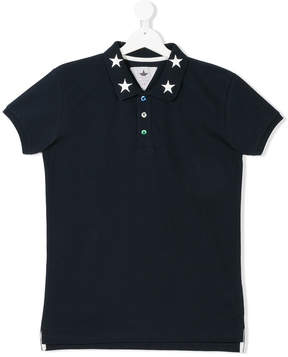 Macchia J Kids TEEN star embroidered polo shirt