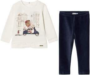Mayoral White Scooter Print T-Shirt and Navy Leggings Set
