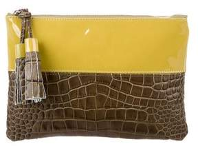 Suno Patent & Embossed Leather Clutch