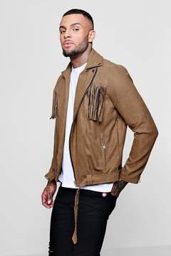 boohoo Faux Suede Tassel Jacket