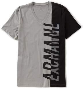 Armani Exchange Side Logo Short-Sleeve V-Neck Tee