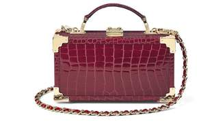 Aspinal of London Trinket Box In Bordeaux Patent Croc
