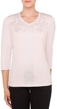 Allison Daley Embellished V-Neck 3/4 Sleeve Foil Detail Knit Top