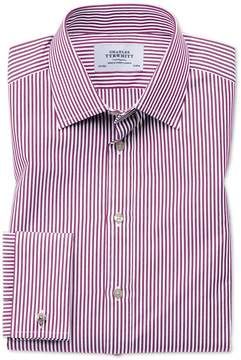 Charles Tyrwhitt Slim Fit Bengal Stripe Purple Cotton Dress Shirt French Cuff Size 15.5/33