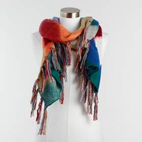 World Market Multicolor Fuzzy Harlequin Reversible Scarf