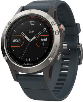 Garmin Men's fenix 5 Blue Silicone Convertible Strap Smart Watch 47mm 010-01688-01