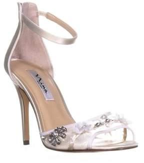 Nina Clarity Crystal Flower Zip Up Sandals, Ivory Crystal.