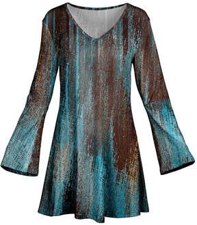 Azalea Aqua & Brown Abstract Flare-Sleeve Tunic - Women & Plus