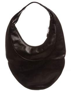Bvlgari Black Pebbled Leather Large Hobo Handbag.