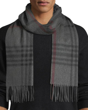 Neiman Marcus Cashmere Waterweave Grid Plaid Fringe Scarf
