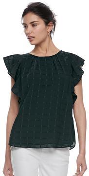 Elle Women's ElleTM Pleated Flutter Sleeve Top