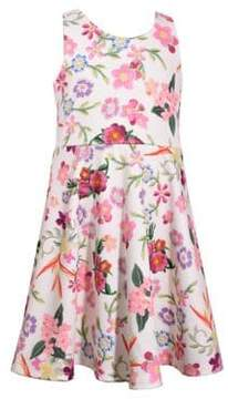 Iris & Ivy Girl's Printed Embroidered Lace Back Dress