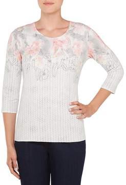 Allison Daley Plus Embellished Crew-Neck Floral Speck Print Knit Top
