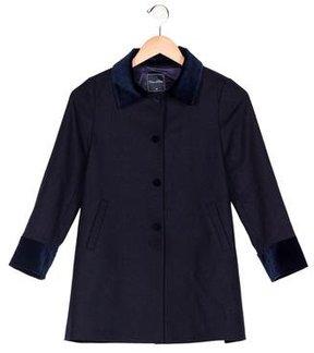 Oscar de la Renta Girls' Wool Velvet-Trimmed Coat