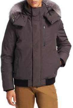 Madison Supply Bomber Fox Fur-Trim Coat