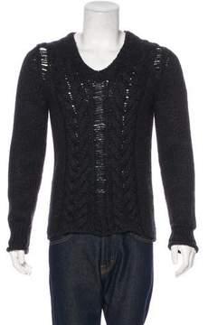 Pierre Balmain Distressed Alpaca-Blend Cable Knit Sweater
