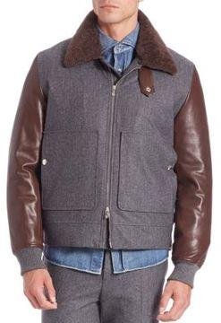 Brunello Cucinelli Zip-Front Fur Collar Jacket