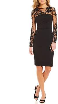 David Meister Illusion Long Sleeve Floral Embroidered Cocktail Dress